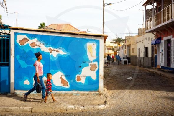 Cape Verde map on a wall in Santa Maria, Sal island