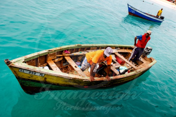 Cape Verdean Fishermen in a boat