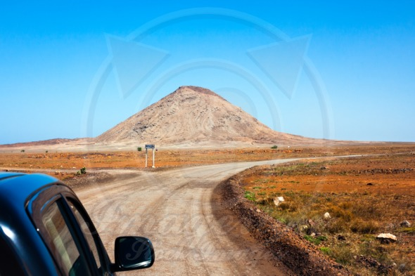 Cape Verde. Road to Buracona near mountain Monte Leste.