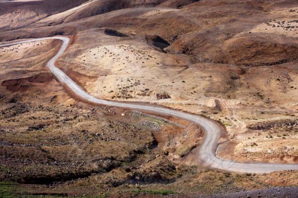 Desert road in Martian like landscape Cape Verde, Santo Antao