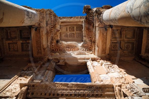 Ornaments of Library of Celsus in Ephesus. Turkey
