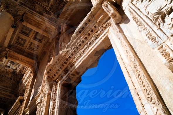 Library of Celsus in Ephesus, stone windows and walls