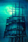Image of pirates. Pirate ship sails set and the Moon