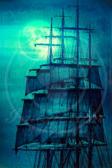 Pirate ship sails set and the Moon