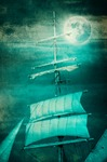 Image of pirate. Pirate ship sail in the night