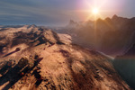 Image of extraterrestrial. Sunset on Mars, mountain sci fi landscape