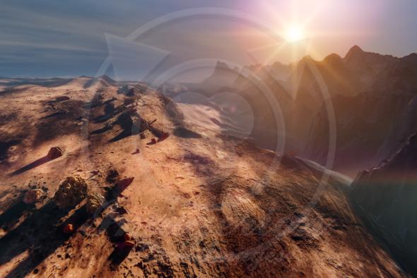 Sunset on Mars, mountain sci fi landscape