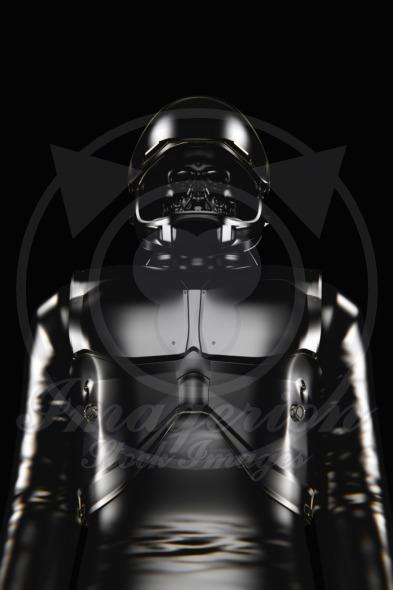 Black astronaut skull face