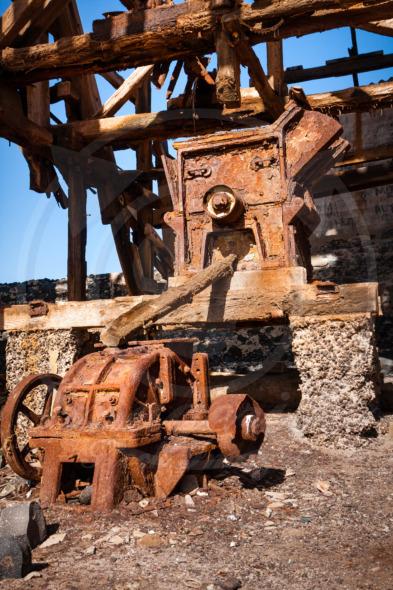 Rusty machinery of salt transportation cableway in Pedra de Lume. Cape Verde
