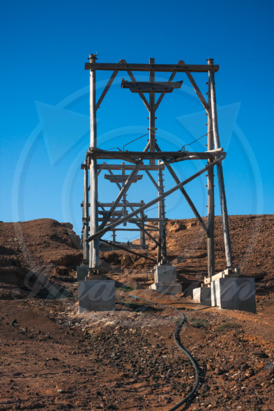 Salt transportation cableway in Pedra de Lume salt mine