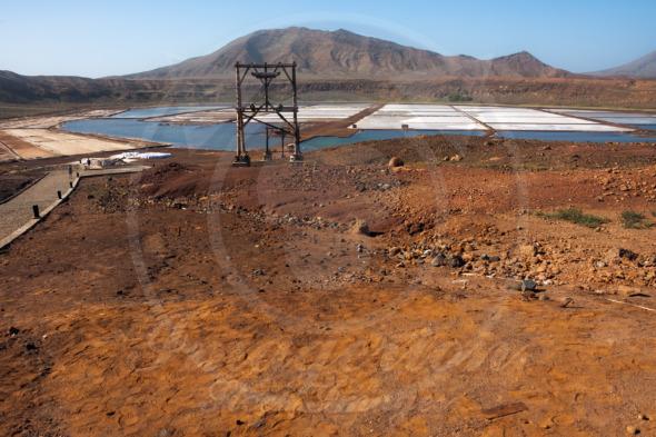 Cape Verde major tourist attraction, salt beds, marshes for floating in salt water
