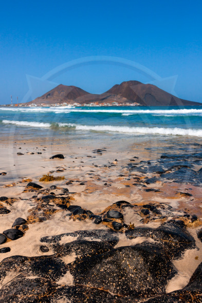 Volcanic rocks on the beach Calhau town, Cape Verde