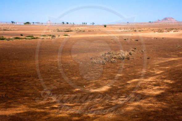 Desert mirage at the horizon