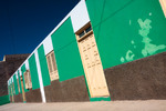 Image of green. Colorful Cape Verdean architecture, green wall
