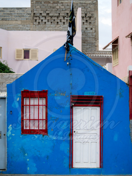 Blue house, colorful architecture of Cape Verde