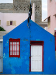 Image of wall. Blue house, colorful architecture of Cape Verde