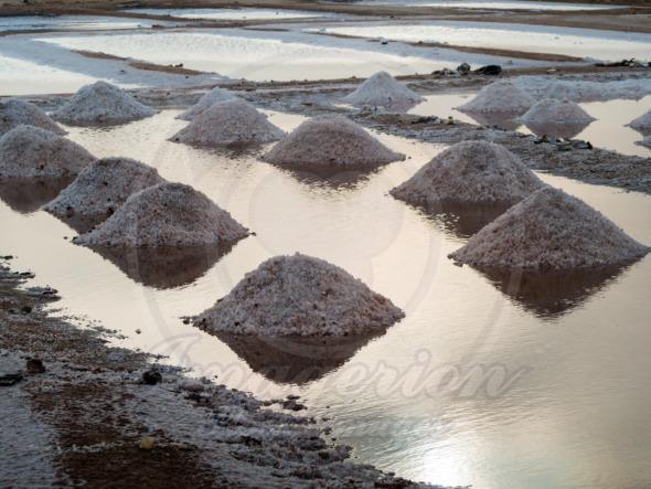 Cape Verde, salt heaps in salt water ponds