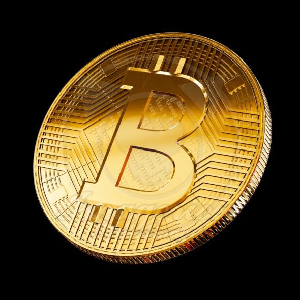 Bitcoin currency, golden coin symbol concept design