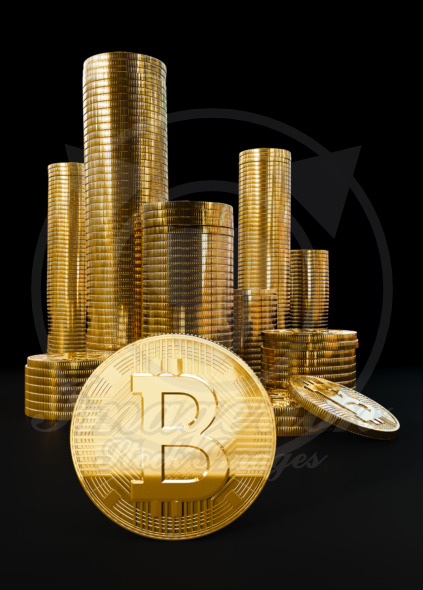Bitcoin digital currency coins pile