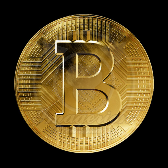 Crypto currency Bitcoin coin front view