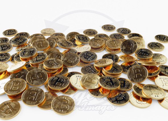 Scattered Bitcoins, physical crypto currency concept
