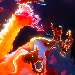 Image of energetic. Burning flames, hot  red clouds