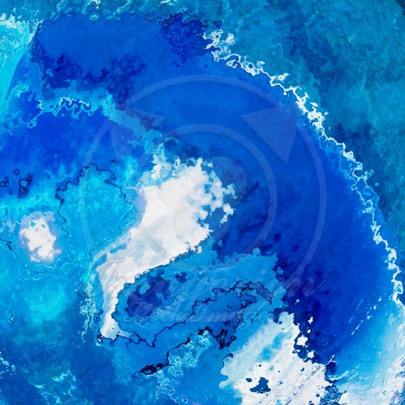 Deep blue oceanic wave splash