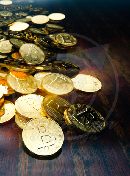 Physical Bitcoin design, decentralized currency on table