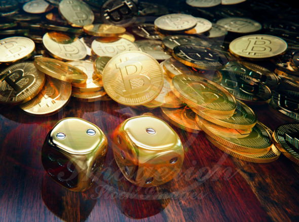 Bitcoin gambling, stack of coins and golden dice
