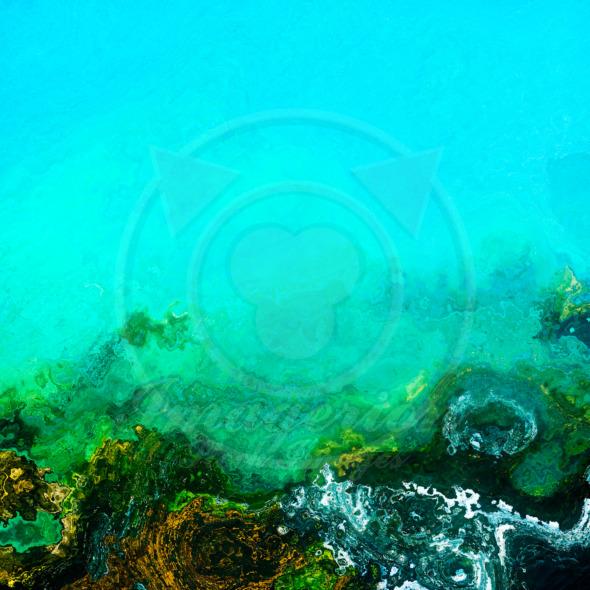 Deep underwater bottom green background illustration
