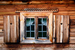 Image of shutters. Old window shutters of wooden cottage house