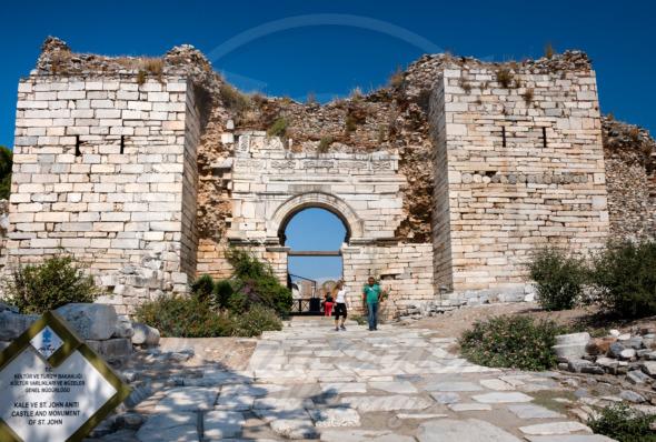 Selcuk church entrance walls of Basilica of St. John, Turkey