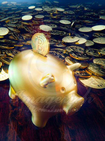 Piggy bank, drop a coin to moneybox of gold