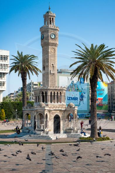 Izmir Clock Tower, iconic historic town landmark. Saat Kulesi