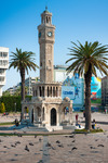 Image of clock. Izmir Clock Tower, iconic historic town landmark. Saat Kulesi