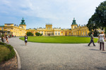 Image of yard. Tourists at the Wilanow Royal Palace main yard, Warsaw
