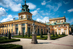 Image of baroque. Wilanow Royal Palace gardens, old historic landmarks of Warsaw