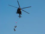 Image of Warsaw. Warsaw City, Special Forces hanging on ropes from a helicopter, Poland