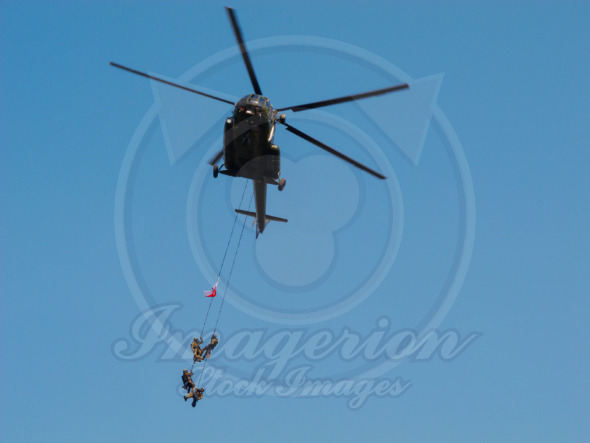 Warsaw City, Special Forces hanging on ropes from a helicopter, Poland