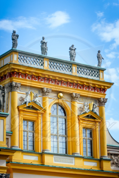 Wilanow Palace in Warsaw yellow facade architectural details