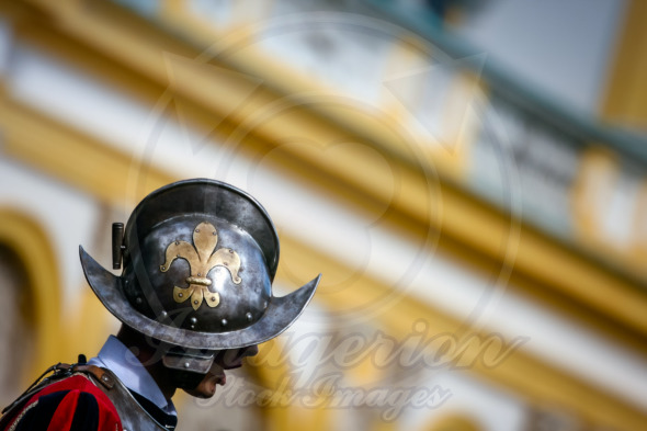 Fleur de Lis sign on a royal guard helmet, Wilanow Palace in Warsaw