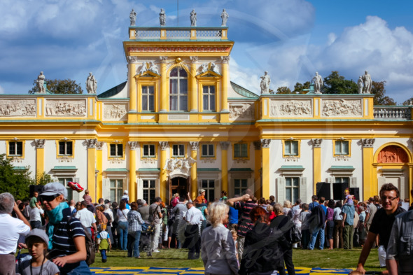 Tourist crowds at the Royal Palace Wilanow in Warsaw, Poland