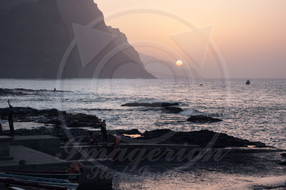 Beautiful sunset evening at the shore of Santo Antao. Ponta do Sol