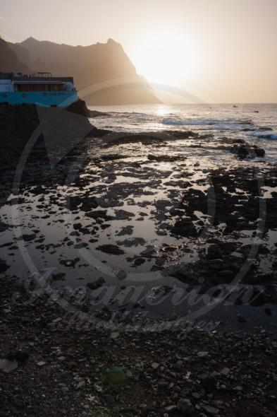 Beautiful sunset evening on Santo Antao Island. Veleiro restaurant