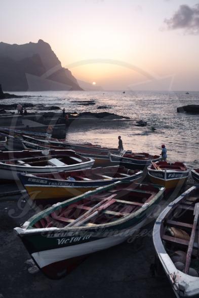 Fishing boats in Ponta do Sol at the beach of Santo Antao Island