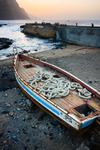 Image of fishing. Wooden fishing boat  at the beach of Santo Antao Island