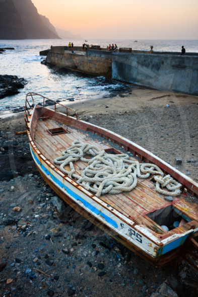Wooden fishing boat  at the beach of Santo Antao Island