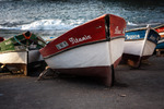 Image of boat. Titanic wooden fishing boat in port of Santo Antao, Cape Verde, Africa