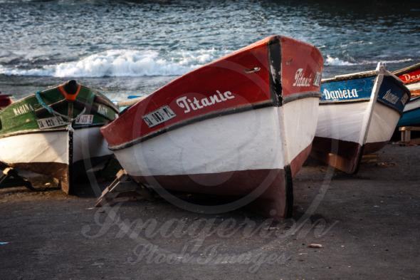 Titanic wooden fishing boat in port of Santo Antao, Cape Verde, Africa