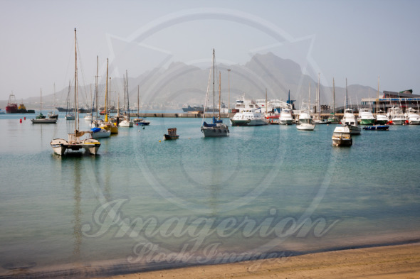 Mindelo boats and yachts in Marina. Visible Face Mountain